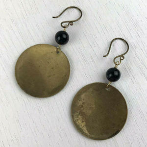 Handmade Jewelry - Handcrafted Repurposed Brass and Onyx Earrings New